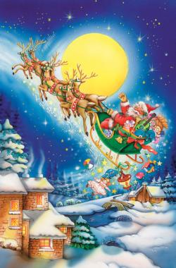 Santa on a Moonlit Night Snow Jigsaw Puzzle