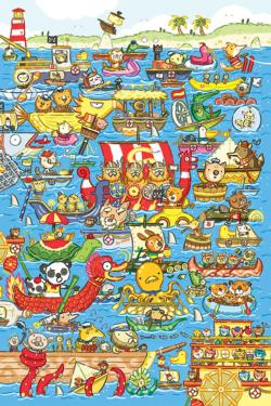 Boat Race Cartoons Children's Puzzles
