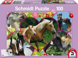 Horses in Love Collage Jigsaw Puzzle
