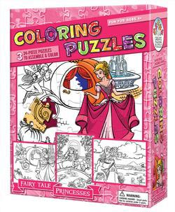 Fairy Tale Princesses (Coloring Puzzles) Princess Children's Coloring Books - Pads - or Puzzles