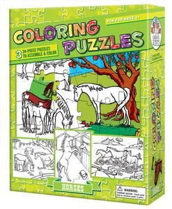 Horses (Coloring Puzzles) - Scratch and Dent Horses Children's Coloring Books - Pads - or Puzzles