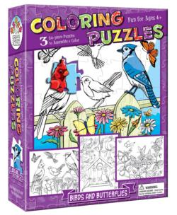 Birds and Butterflies (Coloring Puzzles) Flowers Multi-Pack
