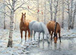 Horse Trio (Small Box) Snow Jigsaw Puzzle