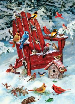 Adirondack Birds Snow Jigsaw Puzzle