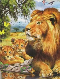 Lions by the Pool Baby Animals Jigsaw Puzzle