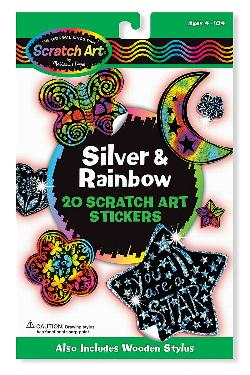 Silver & Rainbow Scratch Art Stickers Arts and Crafts