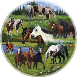 Around the Pasture Horses Round Jigsaw Puzzle