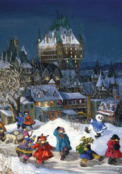 Frontenac Castle, Quebec Snowman Jigsaw Puzzle