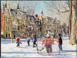 Hockey Game Street Scene Jigsaw Puzzle