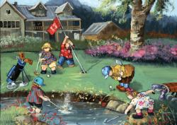 Golf Game Contemporary & Modern Art Jigsaw Puzzle
