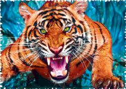Facing a Tiger Jungle Animals Jigsaw Puzzle