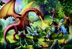 Meeting The Dragon Fantasy Jigsaw Puzzle