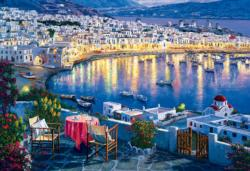 Mykonos at Sunset / Mykonos au crépuscule Sunrise / Sunset Jigsaw Puzzle