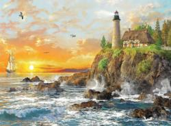Sunset By The Rocky Coast Sunrise/Sunset Jigsaw Puzzle