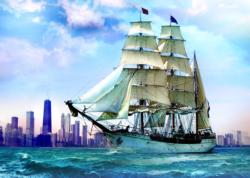Sailing Towards Chicago Chicago Jigsaw Puzzle