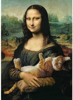 Mona Lisa And A Purring Kitty Cats Jigsaw Puzzle