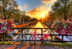 Bicycles of Amsterdam L Bicycles Double Sided Puzzle