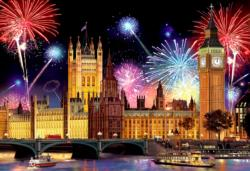 London by Night M Fireworks Double Sided Puzzle