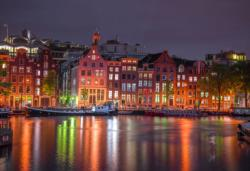 Amsterdam by Night M Europe Double Sided Puzzle