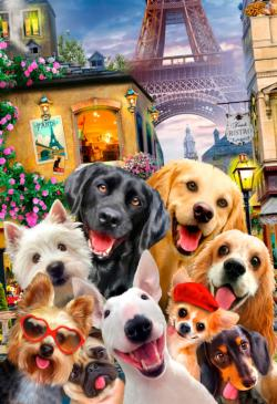 Puppies in Paris M Dogs Double Sided Puzzle