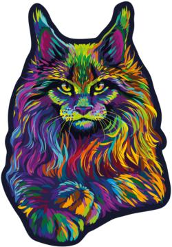 Rainbow Wild Cat M Cats Double Sided Puzzle