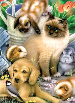 Springtime Pets Baby Animals Large Piece