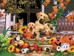 Autumn on the Porch Baby Animals Jigsaw Puzzle