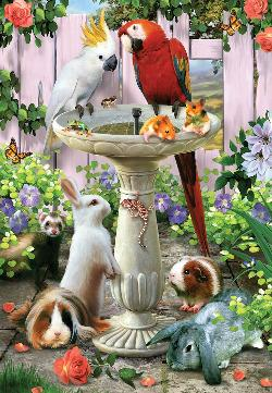 Bird Bath Other Animals Jigsaw Puzzle
