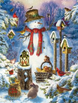 Wilderness Snowman Christmas Jigsaw Puzzle