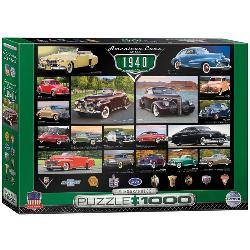 American Cars of the 1940's (Cruisin' Series) Collage Jigsaw Puzzle