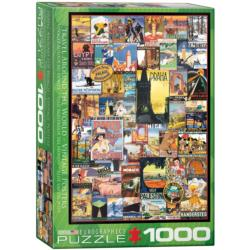 Travel the World Vintage Ads Collage Jigsaw Puzzle