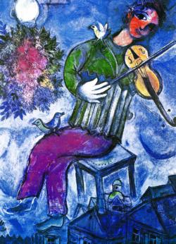 The Blue Violinist Contemporary & Modern Art