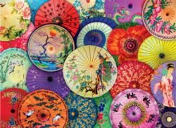 Asian Oil Paper Umbrellas Pattern / Assortment Jigsaw Puzzle