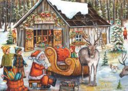 Santa's Barn Santa Jigsaw Puzzle