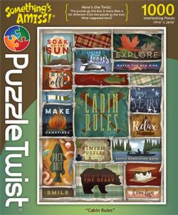 Cabin Rules (Something's Amiss) Collage Jigsaw Puzzle