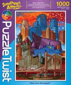 Moon Over Minneapolis Landmarks / Monuments Jigsaw Puzzle