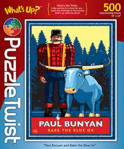 Paul Bunyan & Babe the Blue Ox Winter Jigsaw Puzzle