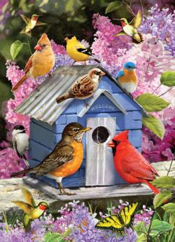 Spring Birdhouse Flowers Jigsaw Puzzle
