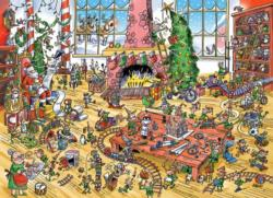 DoodleTown: Elves at Work Christmas Jigsaw Puzzle