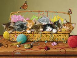 Basket Case Cats Family Puzzle