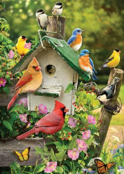 Singing Around the Birdhouse Flowers Tray Puzzle