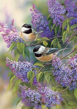 Chickadee Duo Flowers Tray Puzzle