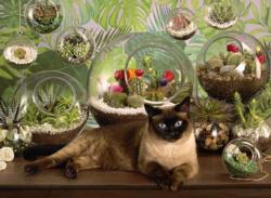 Terrarium Cat Flowers Jigsaw Puzzle