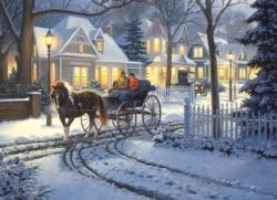Horse-Drawn Buggy Snow Jigsaw Puzzle