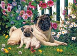 Pug Family Flowers Jigsaw Puzzle