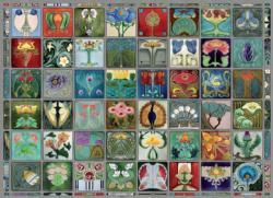 Art Nouveau Tiles Flowers Jigsaw Puzzle