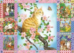 Blossoms and Kittens Quilt Flowers Jigsaw Puzzle