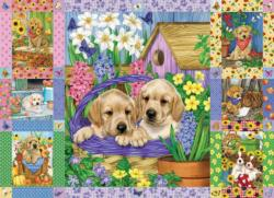 Puppies and Posies Quilt Flowers Jigsaw Puzzle
