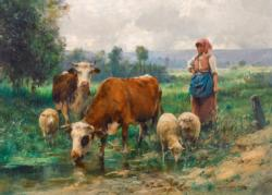 The Shepherdess with her Flock Cows Jigsaw Puzzle