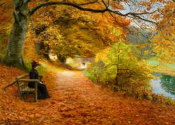 A Wooded Path in Autumn Landscape Jigsaw Puzzle